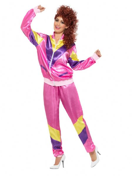 80'S Height Of Fashion Shell Suit Costume - Pink